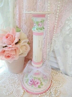 TALL PINK ROSE CANDLE STICK DASommer hp hand painted chic shabby vintage cottage