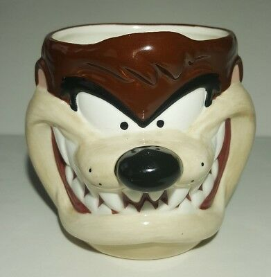 Vintage 1995 Applause Looney Tunes 3-D Taz Tasmanian Devil Mug Cup Glass Coffee