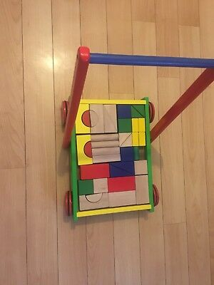 wooden baby walker with building blocks