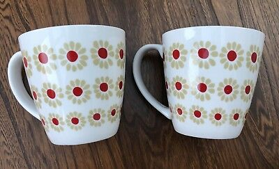 Laura Ashley Home Two Large Mugs (2) Red Flower Spots Retro Feel! Pair.