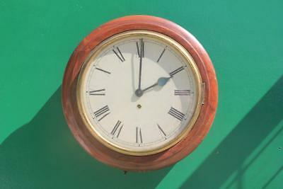 Antique English Mahogany 8 Day 12 Inch Station Schoolhouse Wall Clock