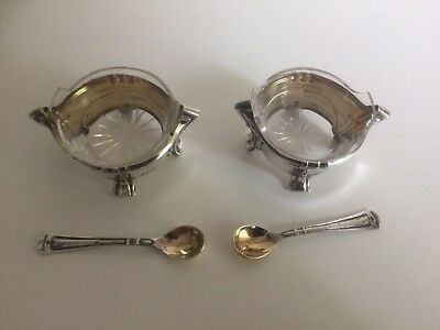 Pair of Antique Continental Silver Salts with Glass Liners & Matching Spoons