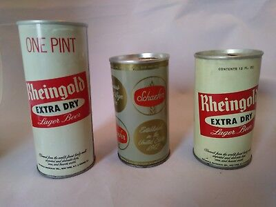 3 Vintage Beer Cans GREAT CONDITION! 2 Rheingold and 1 Scheifer. Top inside cans
