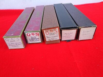 Lot of 5 Vintage Player Piano Rolls Christmas Music Antique 12 Songs