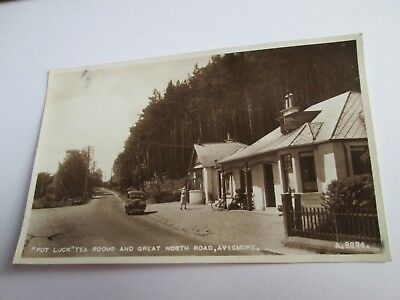 """Postcard of """"Pot Luck"""" Tea Rooms and Great North Road, Aviemore A8294"""