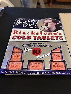 Vintage Blackstone Products Blackstone's Cold Tablets Counter Display Board NEW