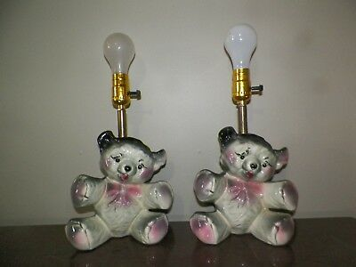 Vintage Pair Of American Bisque Ceramic Teddy Bear Table/dresser Lamps