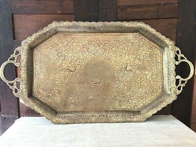 """Large 29"""" Antique Brass Tray Embossed Engraved Ornate Handles Peacocks India"""