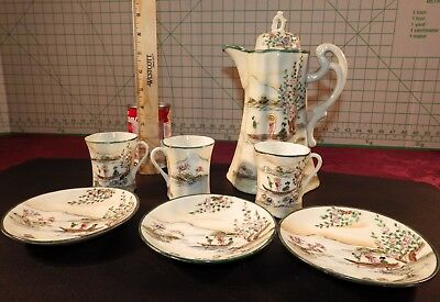 Antique Early 1900's 8 Piece Nippon Torri Hand Painted Porcelain Chocolate Set