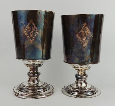 GEORGE III Pair OLD SHEFFIELD PLATE WINE GOBLETS c1790