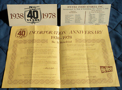 Hy-Vee 40 Years Service 1938 - 1978 Table Tent Markers