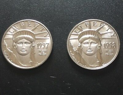 PlatinumLiberty coins .25 ounce x 2 coins. 1997 and 1998