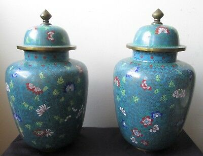 PAIR of ANTIQUE old Chinese 2 Cloisonne Floral JARS FLOWER's on TURQUOISE Ground