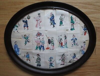 Large COLLECTION OF Antique 19thc QING DYNASTY Chinese paintings on Rice paper