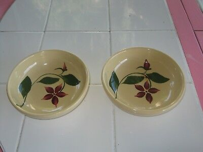 Watt Pottery 5 Petal 2 Starflower Berry Bowls