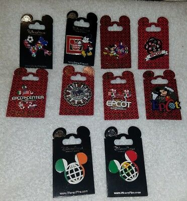 Disney Pins Epcot Pins lot of 10 Rack Pins / Carded Pins New  AUTHENTIC L@@K