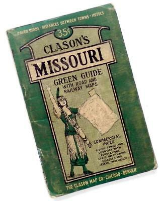c. 1925 Clason's MISSOURI Green Guide with Road & Railway MAPS
