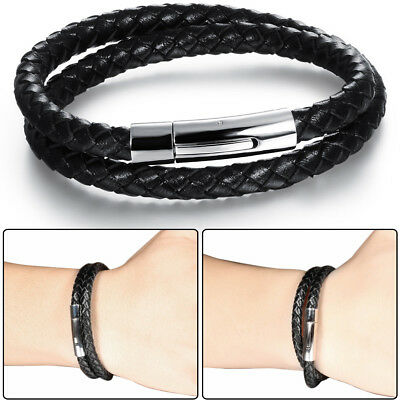 Men's Silver Stainless Steel Clasp Multi-layer Black Braided Leather Bracelet US