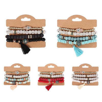 Women Charm Bohemian Multilayer Pearl Beaded Tassel Pendant Chain Bracelet Sets