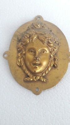 Antique Relief~Woman  Figure Plaque~Signed France~Ormolu Gold Gilt With Mounts