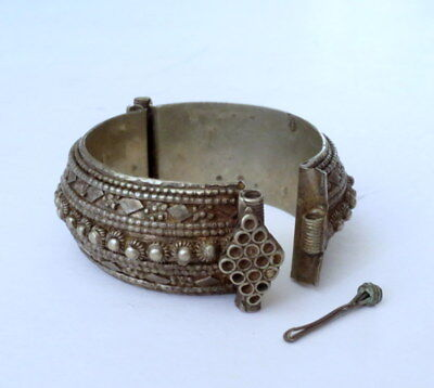 Antique Vintage Boho India Tribal Bangle Bracelet Pin Hinged Old Silver Ornate