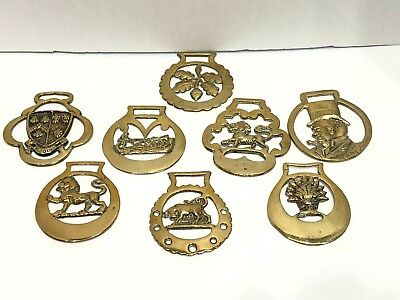 Lot Old Horse Harness Bridal Medallions Brass England Lion Cheddar Bull Medal