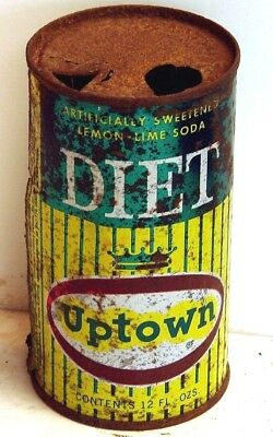 Diet Uptown; Milwaukee WI; solid top / flat top steel soda Pop Can