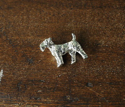 Miniature Terrier Dog Metal Silver Tone Figurine Airedale Welsh Terrier
