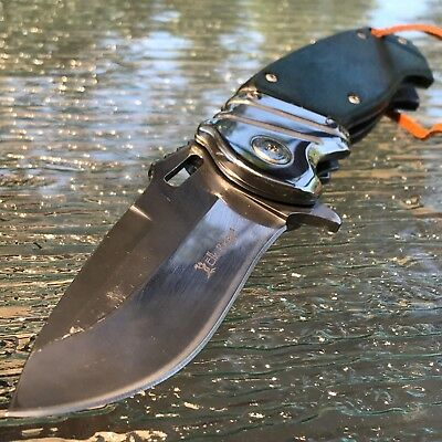 "ELK RIDGE BLUE ASSISTED OPEN HUNTING POCKET KNIFE w/ LEATHER LANYARD 8.25"" New"