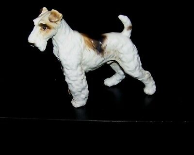 Vintage Bisque Porcelain Wire Haired Fox Terrier Figurine -MINT #H3679 JAPAN