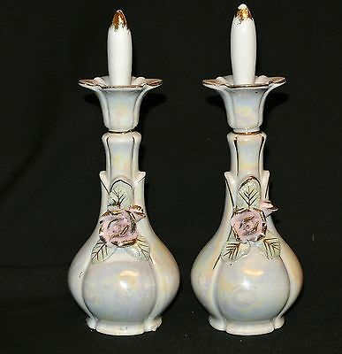 2-Pr.Vtg Ceramic Lustreware Perfume Bottles Gold Trim-Applied Flowers-Japan-7.5""