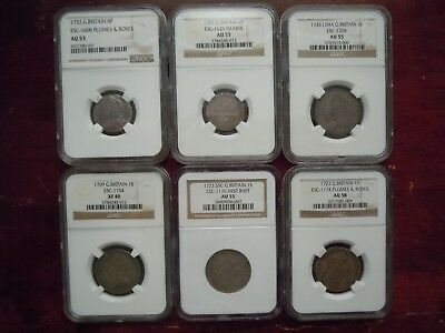 6 High Grade Ngc Graded British Coins (1709-1787) True Auction See All Pics