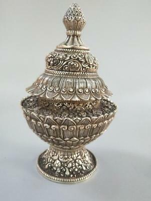 Chinese Collection Eight Treasure Lotus Flower White Copper Incense Burner