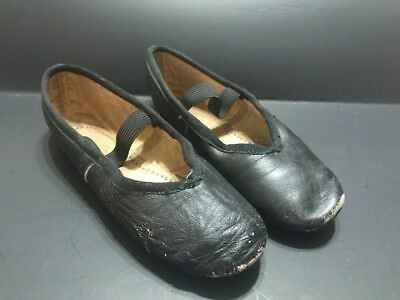 Pair Antique/vintage Black  Girls ballet & shoes dance ballerina Worn