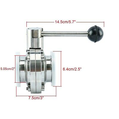 """2"""" Sanitary Butterfly Valve with Pull Handle SS304 Tri Clamp Clover 1.6MPA AU"""
