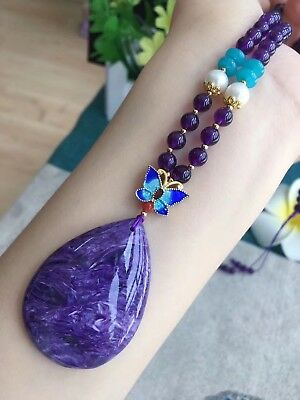 50g Top Quality Natural Purple Charoite Crystal Gemstone Pendant Necklace AAA