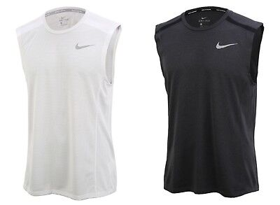 NIKE MEN COOL Miller Dri-Fit Sleeveless Shirts Running White Jersey  892991-100