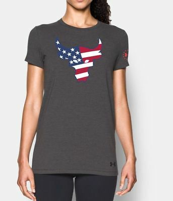 Under Armour Womens Freedom The Rock the Troops Brahma Bull USA T Shirt  Small