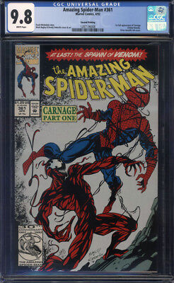 Amazing Spider-Man #361 2nd/Second Print CGC 9.8 1st Full Carnage!!! Silver Ink!