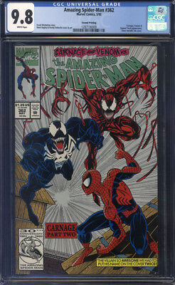 Amazing Spider-Man #362 2nd/Second Print CGC 9.8 Silver Ink!!!