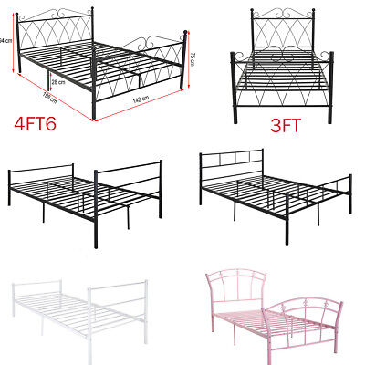 Metal Bed Frame Size 3FT Single 4ft6 Double Bed Solid Bedstead Base Headboard