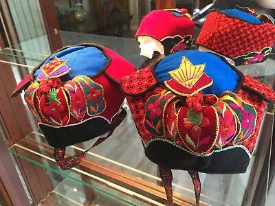 Hand Made Colorful Embroidered Chinese Hats (Vintage)
