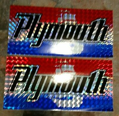 """Plymouth 6""""x12"""" License Plate Tag STICKER lot vtg Chroma Graphics laser 1980'S"""