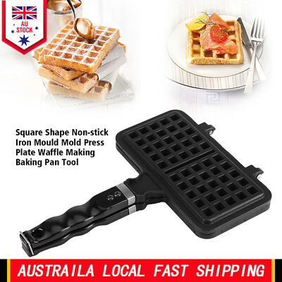 """12"""" Non-stick 2 Pieces Waffle Bread Mold Mould Baking Pan Cake Maker Press Plate"""