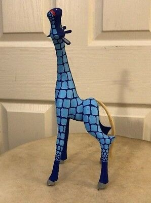 Oaxacan Alebrije Blue Giraffe Wood Carving By Efrain Fuentes