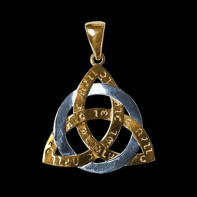 Amulet Celtic Triquetra Trinity Force Power Ancient Sterling silver and gold