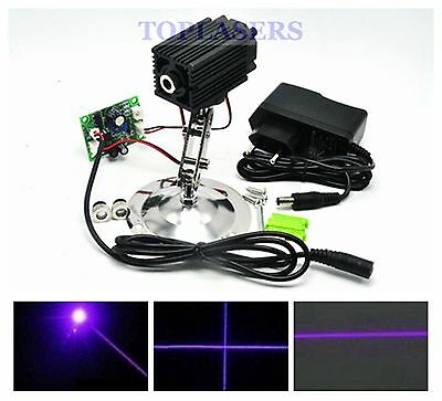 Dot/Line/Cross 100mW 405nm Purple Blue Laser Diode Module w Locator & 12V Power