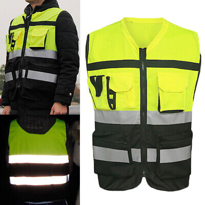 Safety Vest  Zip Up HI VIS Reflective Tape Workwear Jacket Night Day Work Yellow