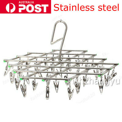 35 Pegs Stainless Steel Dryer Foldable Sock Clothes Airer Folding Hanger Rack OZ