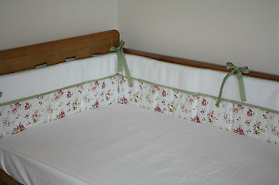 NEW baby girl's floral cotbed/cot BUMPER (nursery bedding) with pink flowers